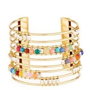 Striped Cuff Bracelet w/ Beads